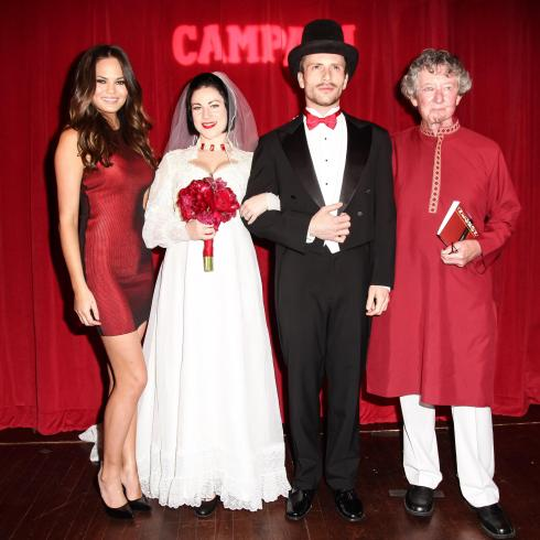 Chrissy Teigen dressed to impress in an Alexander Wang red dress as she witnessed an over-the-top theatrical reenactment of a wedding ceremony of Davide Campari – the son of Campari's founder and his unrequited love, opera singer Lina Cavalieri officiated by spirits luminary, gaz regan. (Photo Credit: Matteo Prandoni / BFAnyc.com