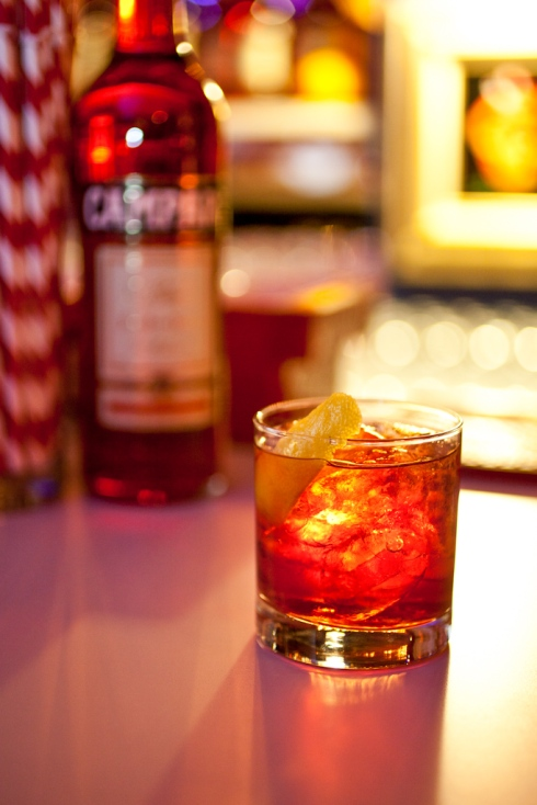 Chrissy Teigen's favorite drink of the evening was a Classic Campari Negroni (photo credit: Virginia Rollison)